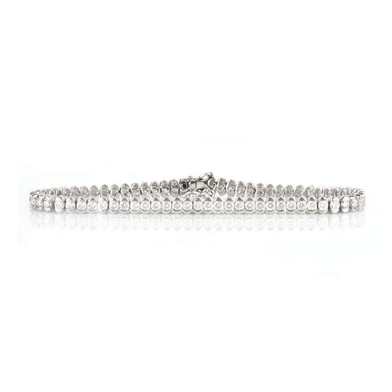 18k White Gold Round Brilliant Cut Diamond Set Line Bracelet 3.60ct